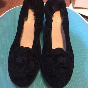 Restricted Ruth Black Velvet Platform Shoes NEW